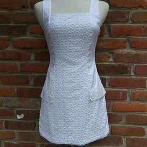 Bebe Sleeveless Eyelet Mini Sheath Dress